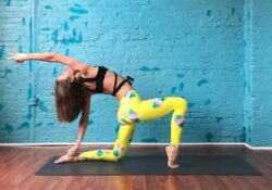 from anjeyarasana 1/2 uttatrasana 1/2 arm extend back | beste art von yoga