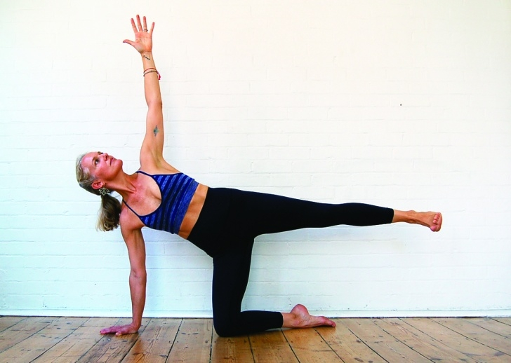 basic half moon pose in yoga picture