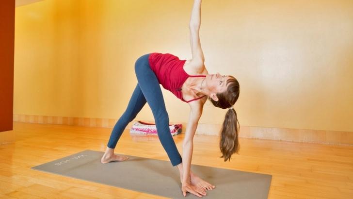 basic yoga standing twist poses photo