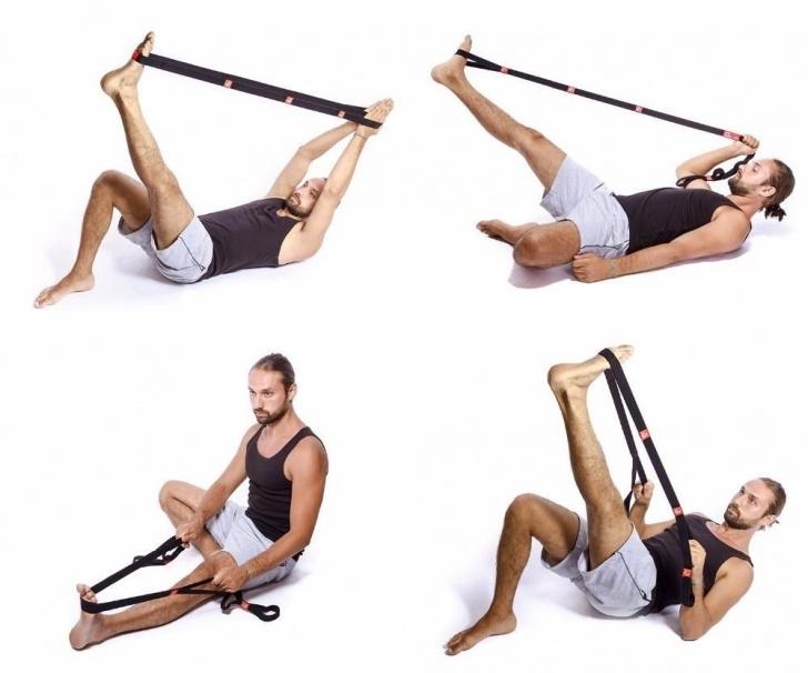 basic yoga stretches with strap photo