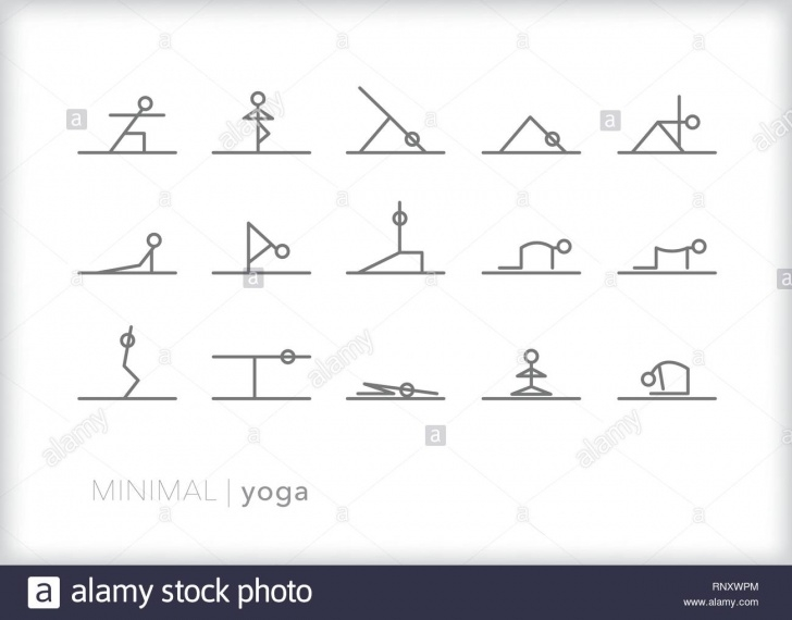 guide of yoga poses stick figures image