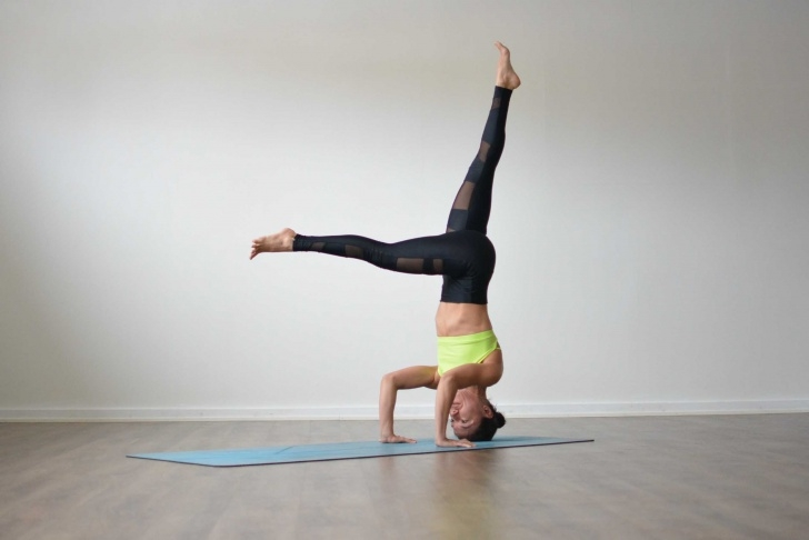 most important yoga poses headstand with wall photo